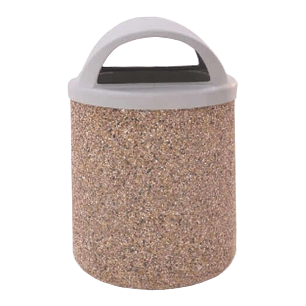 42 Gallon Commercial Concrete Round Trash Receptacle With Two-Way Dome Top