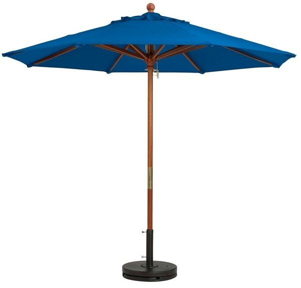 7 Ft. Square Wooden Market Umbrella with Outdura Marine Grade Fabric