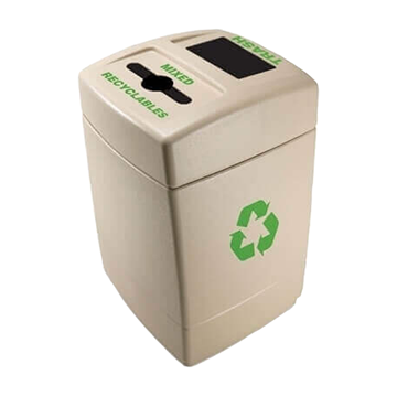 55 Gallon Green Zone Commercial Plastic Trash Receptacle With Mixed Recyclables Compartment