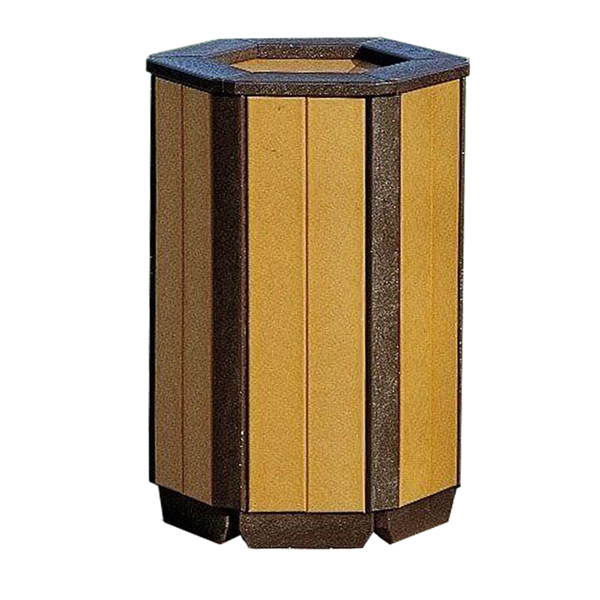 55 Gallon Recycled Plastic Hexagonal Receptacle Shell