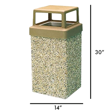 7 Gallon Commercial Concrete Square Trash Receptacle