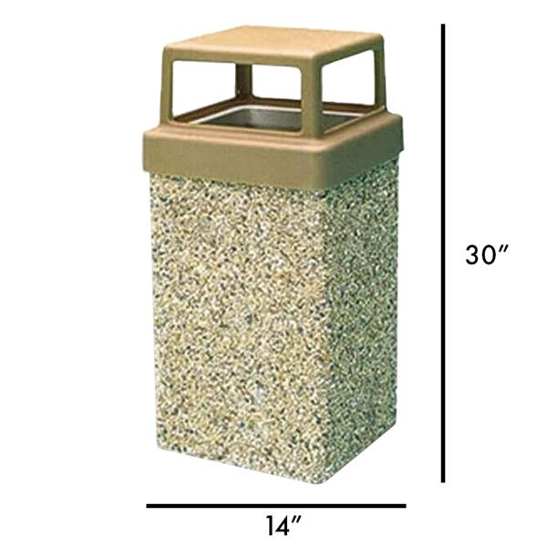 7 Gallon Commercial Concrete Square Trash Receptacle