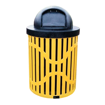 Classic 32 Gallon Steel Trash Receptacle & Liner W/ Dome Top