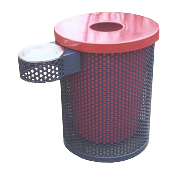 Perforated 32 Gallon Steel Trash Receptacle & Liner W/ Flat Top