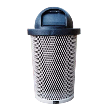 Tapered 32 Gallon Metal Trash Receptacle & Liner W/ Dome Top