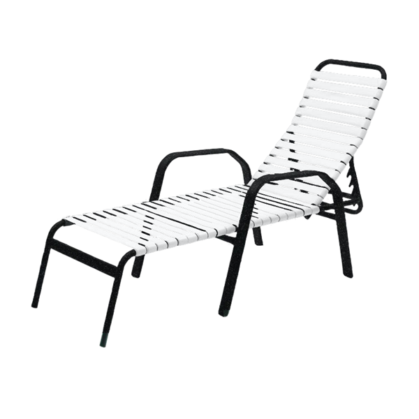 Maya Vinyl Strap Chaise Lounge with Stackable Aluminum Frame - 26 lbs.