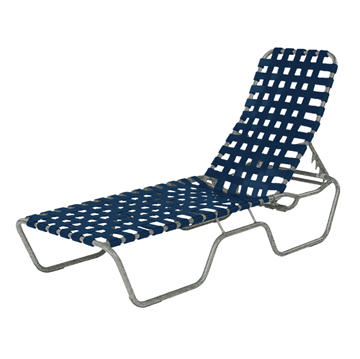 Sanibel Basketweave Vinyl Strap Chaise Lounge with Powder-Coated Aluminum Frame - 24 lbs.