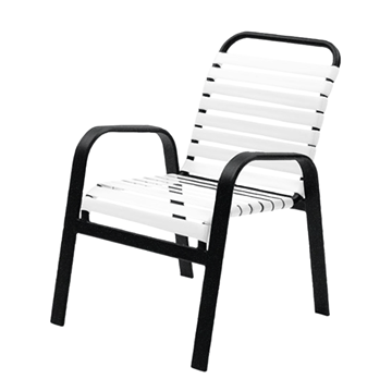 Maya Vinyl Strap Dining Chair with Stackable Powder-Coated Aluminum Frame - 16 lbs.