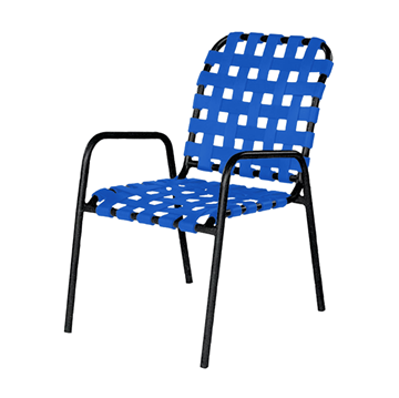 Sanibel Basketweave Vinyl Strap Dining Chair with Powder-Coated Aluminum Frame - 12 lbs.