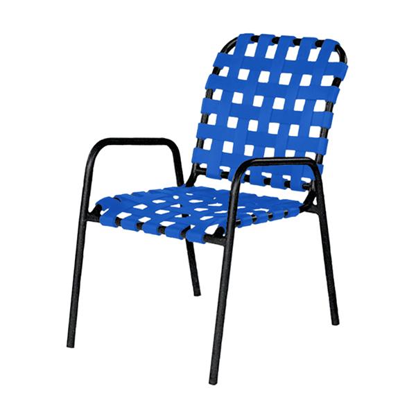 Sanibel Basketweave Vinyl Strap Dining Chair with Powder-Coated Aluminum Frame - 12 lbs.