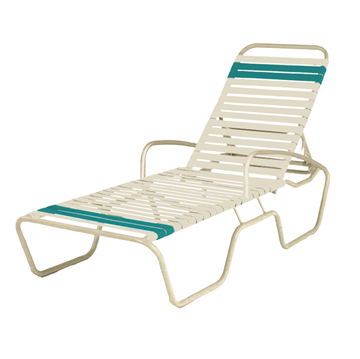 Sanibel Full-Body Vinyl Strap Chaise Lounge with Powder-Coated Aluminum Frame - 27 lbs.