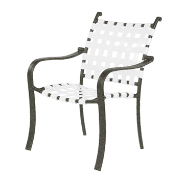 Rosetta Basketweave Vinyl Strap Dining Chair with Powder-Coated Aluminum Frame - 17 lbs.