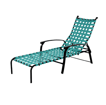 Rosetta Basketweave Vinyl Strap Chaise Lounge with Powder-Coated Aluminum Frame - 14 lbs.