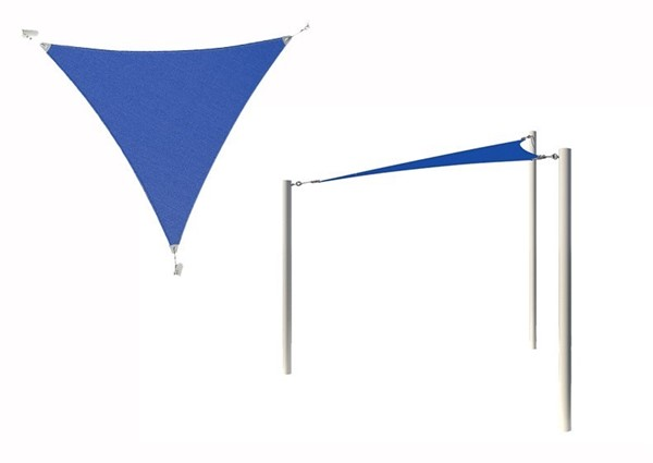 Equilateral Triangle Fabric Sail Shade Structure with 8 Ft. Entry Height Powder-Coated Steel Columns - Base Model