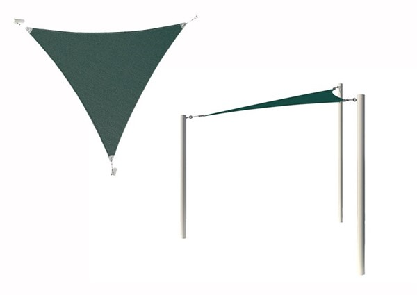 Equilateral Triangle Fabric Sail Shade Structure With 10 Ft. Entry Height Powder-Coated Steel Columns - Base Model