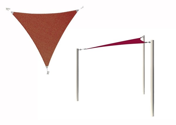Equilateral Triangle Fabric Sail Shade Structure With 12 Ft. Entry Height Powder-Coated Steel Columns - Base Model
