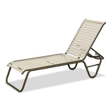 Reliance Contract Vinyl Strap Chaise Lounge with Stackable Aluminum Frame - 20 lbs.