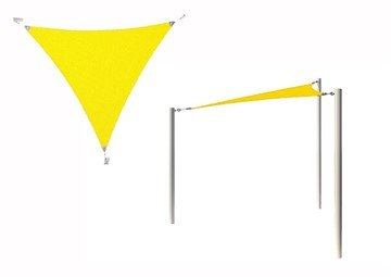Equilateral Triangle Fabric Sail Shade Structure With 14 Ft. Entry Height Powder-Coated Steel Columns - Base Model