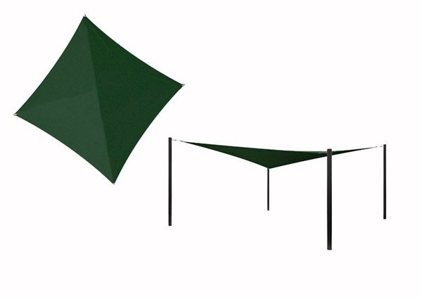 Hyperbolic Fabric Sail Shade Structure with 8 Ft. Entry Height Powder-Coated Steel Columns - Commercial Base Model