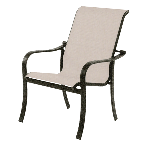 Rosetta Sling Hi-Back Dining Chair with Stackable Aluminum Frame - 18 lbs.