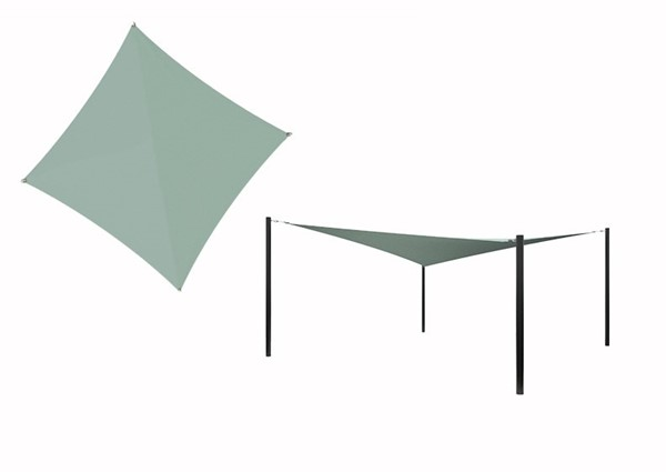 Hyperbolic Fabric Sail Shade Structure with 10 Ft. Entry Height Powder-Coated Steel Columns - Commercial Base Model