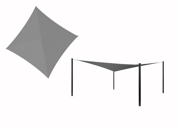 Hyperbolic Fabric Sail Shade Structure With 12 Ft. Entry Height Powder-Coated Steel Columns - Commercial Base Model