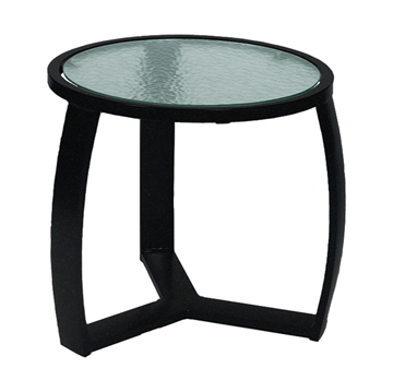 "Pinnacle Side Table with Powder-Coated Aluminum Frame - 20"" Round"