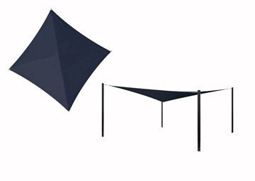 Hyperbolic Fabric Sail Shade Structure With 14 Ft. Entry Height Powder-Coated Steel Columns - Commercial Base Model
