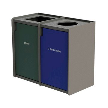 EarthCraft Dual 42-Gallon Waste and Recycling Receptacle - 168 lbs.