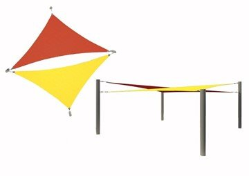 Multi-Sail Square Fabric Shade Structure With 8 Ft. Entry Height Powder-Coated Steel Columns - Base Model