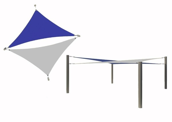 Multi-Sail Square Fabric Shade Structure With 10 Ft. Entry Height Powder-Coated Steel Columns - Base Model