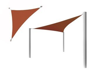 Triangle Fabric Sail Shade Structure With 8 Ft. Entry Height Powder-Coated Steel Columns - Base Model