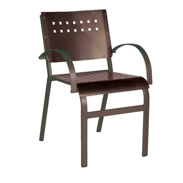 Aurora Outdoor Restaurant Dining Chair Hexagonal Aluminum Frame - 9 lbs.