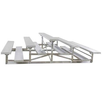 7.5 ft 3 Row Back-To-Back Aluminum Bleacher without Guardrails and Double Footboards - 240 lbs.