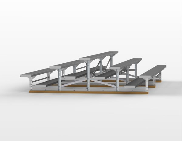 15 ft. 3 Row Back-To-Back Aluminum Bleacher without Guardrails and Double Footboards - 360 lbs.