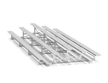 21 ft. 3 Row Back-To-Back Aluminum Bleacher without Guardrails and Double Footboards - 560 lbs.
