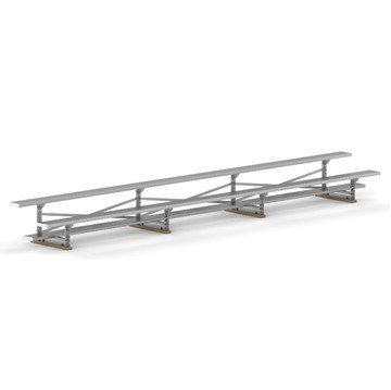 21 ft. 2 Row Aluminum Bleacher without Guardrails and Double Footboards - 215 lbs.