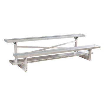 7.5 ft 2 Row Tip & Roll Aluminum Bleacher without Guardrails and Double Footboards - 122 lbs.