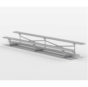 15 ft 2 Row Tip & Roll Aluminum Bleacher without Guardrails and Double Footboards - 185 lbs.