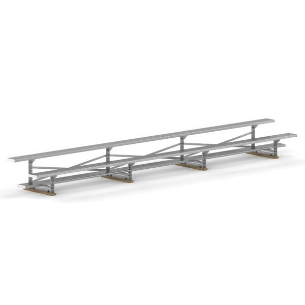 21 ft. 2 Row Tip & Roll Aluminum Bleacher without Guardrails and Double Footboards - 240 lbs.