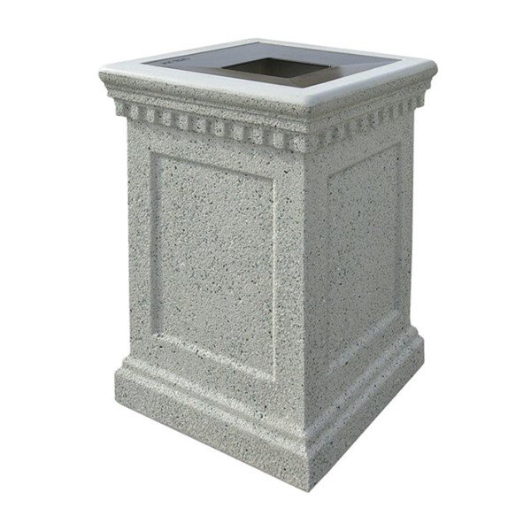 24-Gallon Concrete Colonial Trash Receptacle with Aluminum Top - 610 lbs.