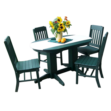 5 Ft. Oval Recycled Plastic Dining Table With 4 Traditional Chairs