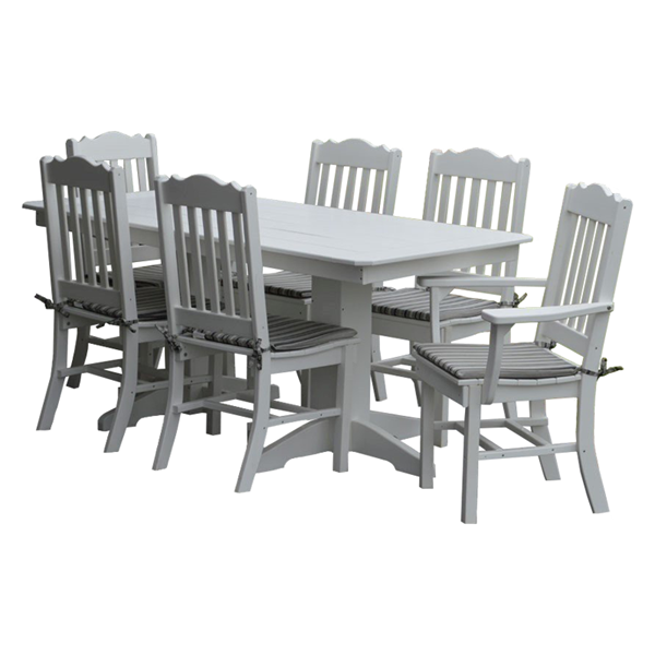 6 Ft. Rectangular Recycled Plastic Dining Table with 6 Royal Chairs - 290 lbs.