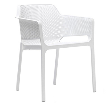 Net Plastic Resin Dining Chair with Wide Seat