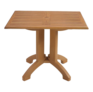 Square Atlanta Plastic Resin Table with Teakwood Design Top