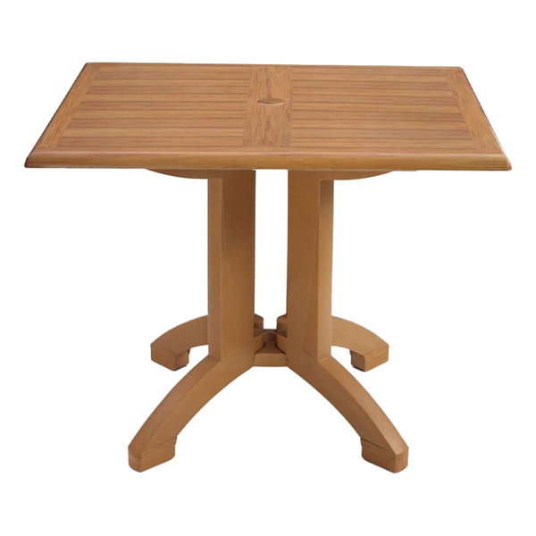 Square Atlanta Plastic Resin Table with Teakwood Design Top