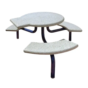 ADA Commercial Round Concrete Picnic Table With Steel Frame