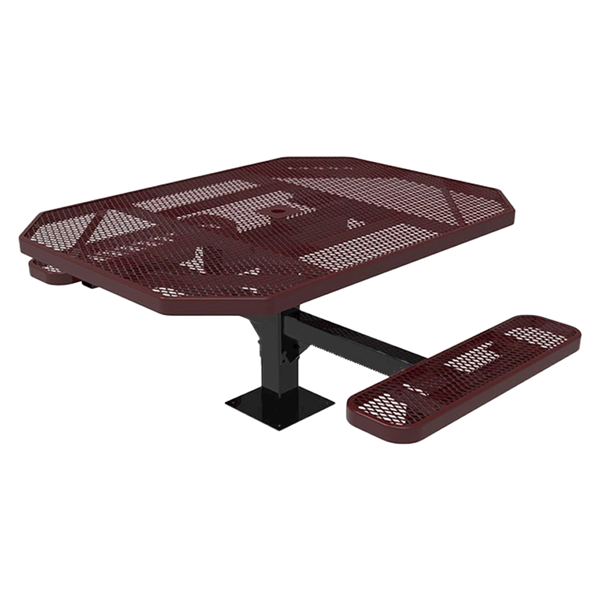 "Elite Series 46"" X 54"" ADA Compliant Thermoplastic Polyethylene Coated Octagon Pedestal 2 Or 3 Seat Picnic Table Expanded Metal - Burgundy - Surface Mount - 2 Seat"