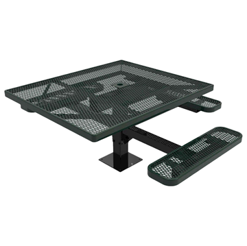 "Elite Series 46"" x 54"" Square ADA Compliant Thermoplastic Polyethylene Coated Pedestal Picnic Table"