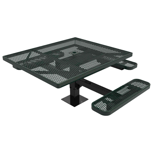 """Elite Series 46"""" x 54"""" Square ADA Compliant Thermoplastic Polyethylene Coated Pedestal Picnic Table"""